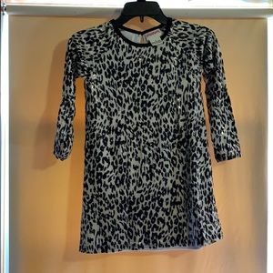 Girls white and black leopard print dress